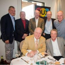 Special Guest Speakers and Sports Celebraties at the Luncheon 5/9/2014- Alan Jones, Paul Martell, Greg Cornelsen, Ron Workman (RSL); Paul McLean, Andrew Slack and Greg Chappell