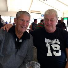 Committee Member Doug Barton and regular patron Geoff (Chook) enjoying a drink and a punt Saturday 20th Sept. 2014