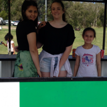 Georgia, Tayla and Gabriel helping out in the Canteen on Fijian Day