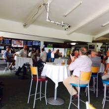 MALCOLM JOHNSTON DELIVERING HIS SPEECH TO THE PATRONS